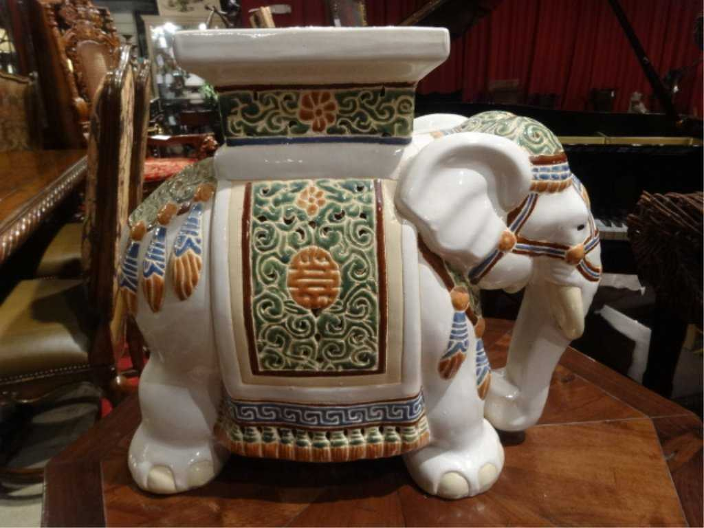 CHINESE CERAMIC ELEPHANT GARDEN STOOL, EXCELLENT GENTLY