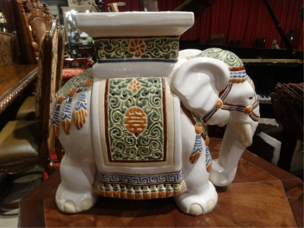 Awesome CHINESE CERAMIC ELEPHANT GARDEN STOOL, EXCELLENT GENTLY
