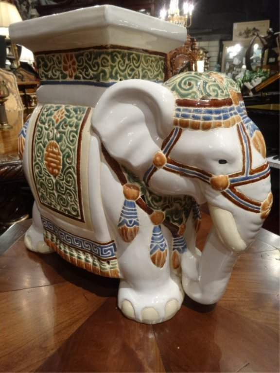CHINESE CERAMIC ELEPHANT GARDEN STOOL, EXCELLENT GENTLY - 2