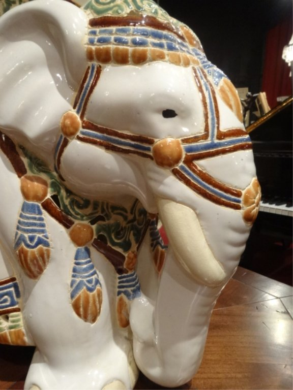 CHINESE CERAMIC ELEPHANT GARDEN STOOL, EXCELLENT GENTLY - 3