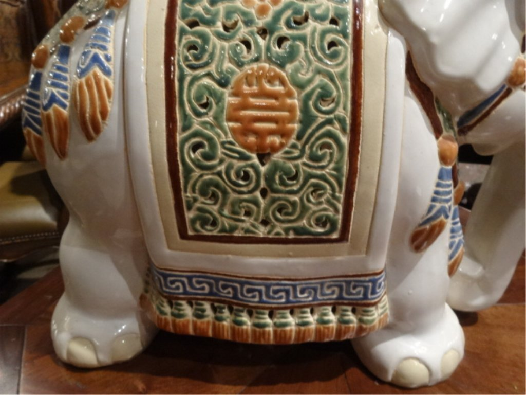 CHINESE CERAMIC ELEPHANT GARDEN STOOL, EXCELLENT GENTLY - 4