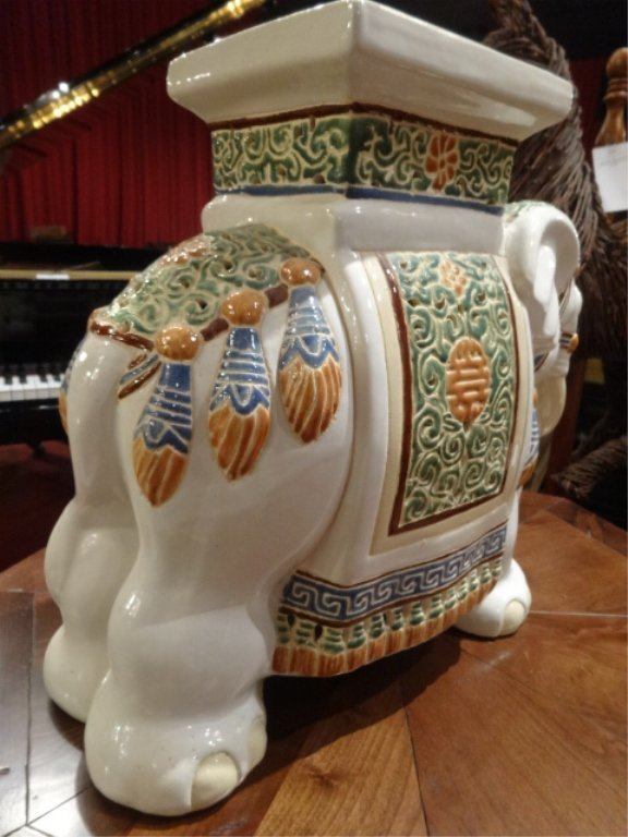 CHINESE CERAMIC ELEPHANT GARDEN STOOL, EXCELLENT GENTLY - 5