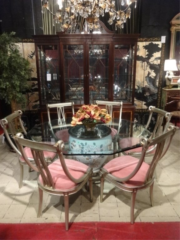 DREXEL HERITAGE MING TREASURES DINING TABLE AND 6