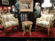 PAIR FRENCH EMPIRE STYLE SWAN ARM CHAIRS GOLD FINISH