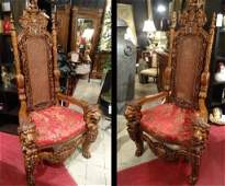 PAIR MONUMENTAL CARVED WOOD THRONE CHAIRS, LION ARMS, H