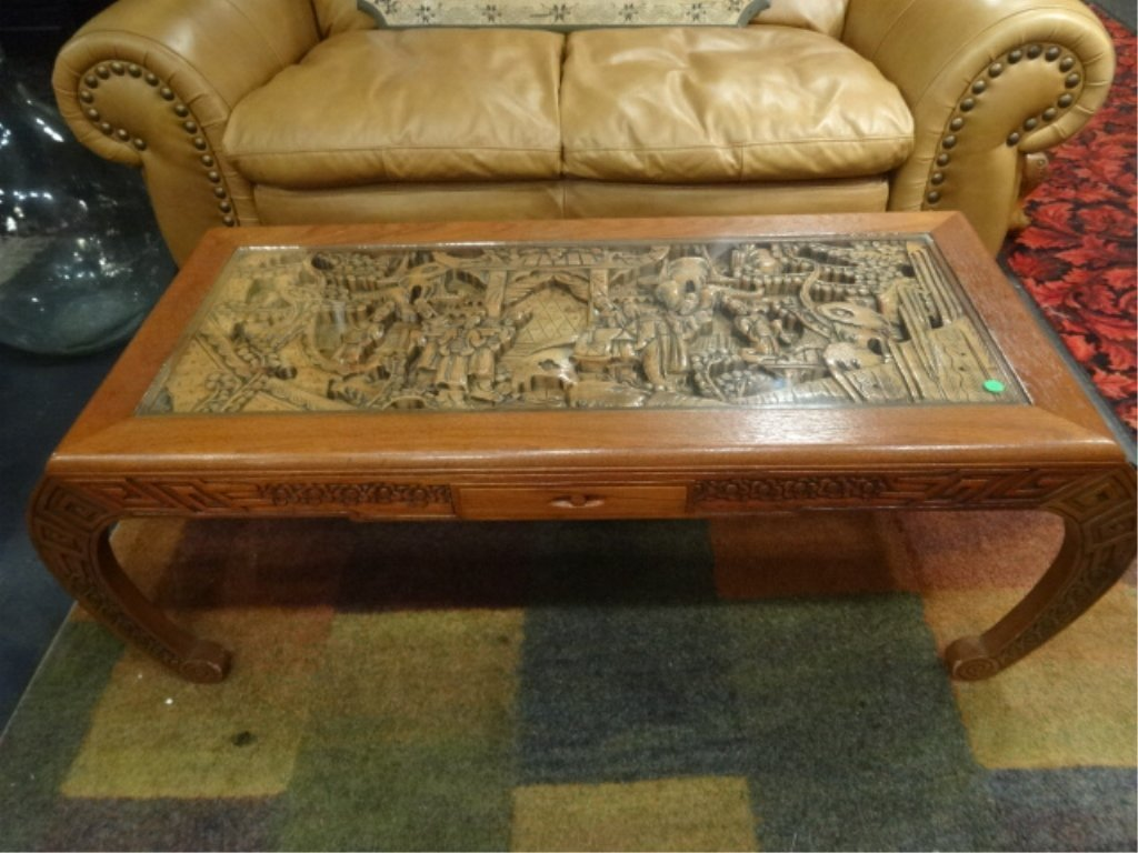 CARVED WOOD COFFEE TABLE CARVED FIGURAL SCENE