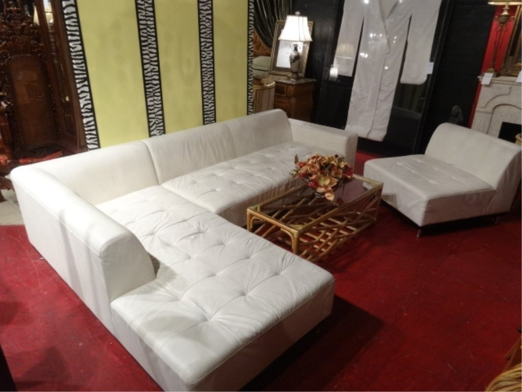 3 PC MODERN WHITE LEATHER SECTIONAL SOFA, TUFTED SEAT,