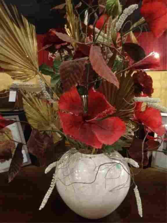 LARGE FAUX FLORAL ARRANGEMENT IN CERAMIC VASE, RED AND