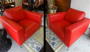 PAIR MODERN ITALIAN RED LEATHER CLUB CHAIRS BY