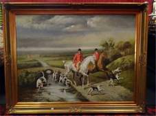 LARGE C BEECH PAINTING ON CANVAS HUNT SCENE FRAMES