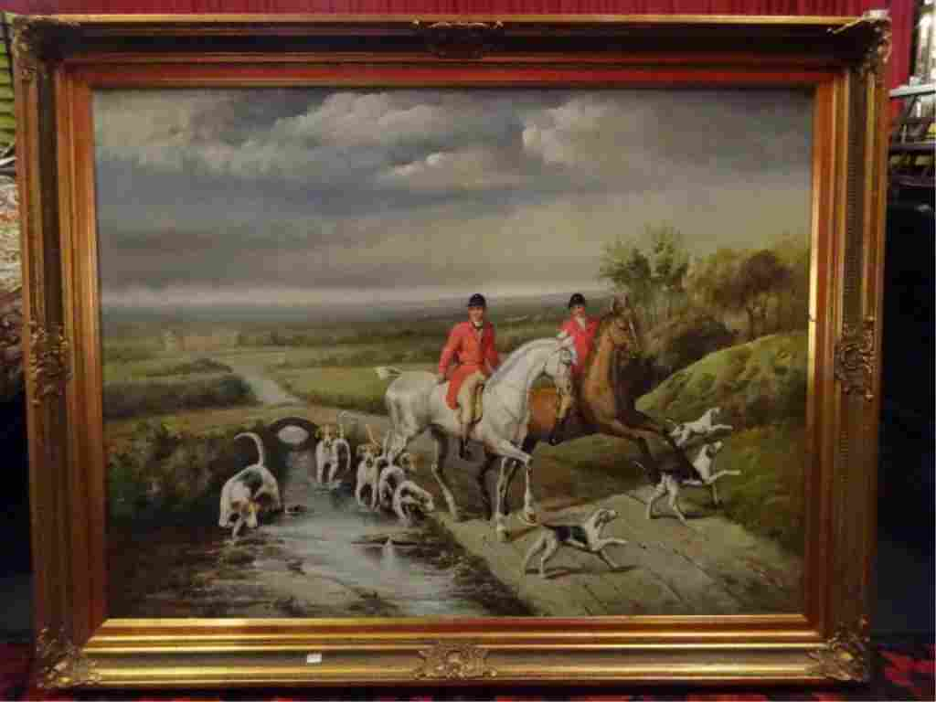 LARGE C. BEECH PAINTING ON CANVAS, HUNT SCENE, FRAMES