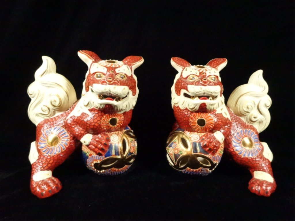 "PAIR CHINESE CERAMIC FOO DOGS, APPROX 7""H"