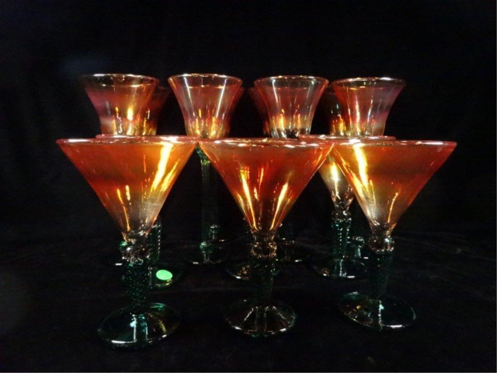 14 STEMWARE GLASSES, IRIDESCENT ORANGE GLASS WITH GREEN