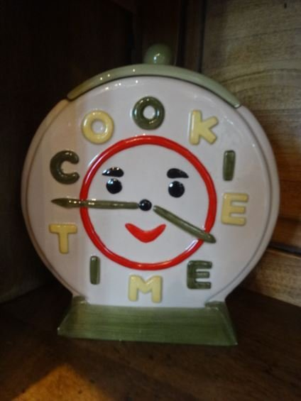 COOKIE TIME CERAMIC COOKIE JAR WITH WHIMSICAL FACE,