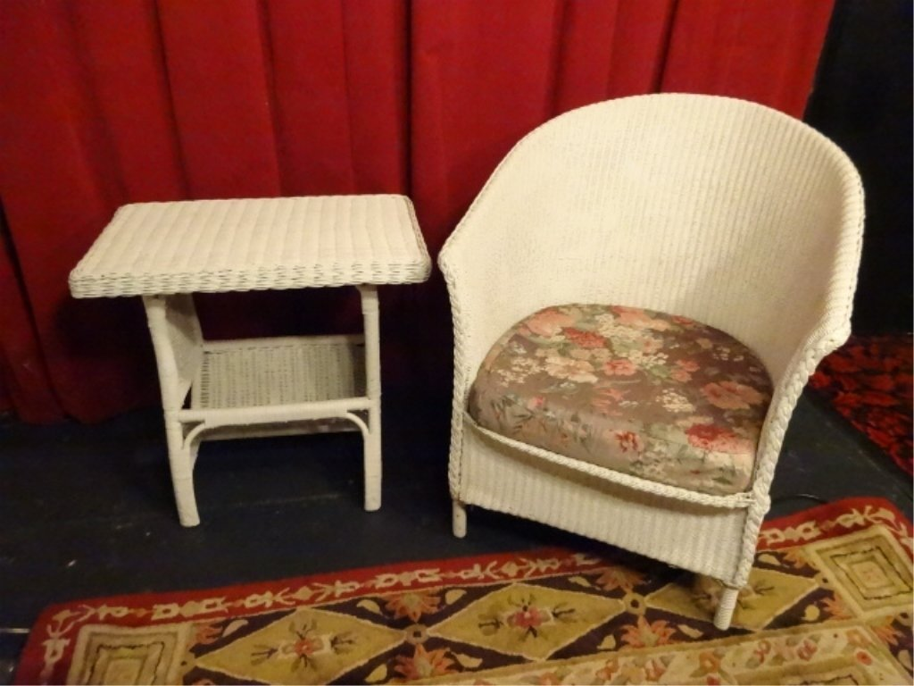 2 PC WHITE WICKER CHAIR & SIDE TABLE; CHAIR APPROX