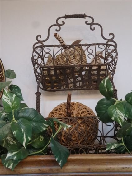 """ORNATE METAL BASKET WITH RATTAN FRUIT, APPROX 14""""H"""