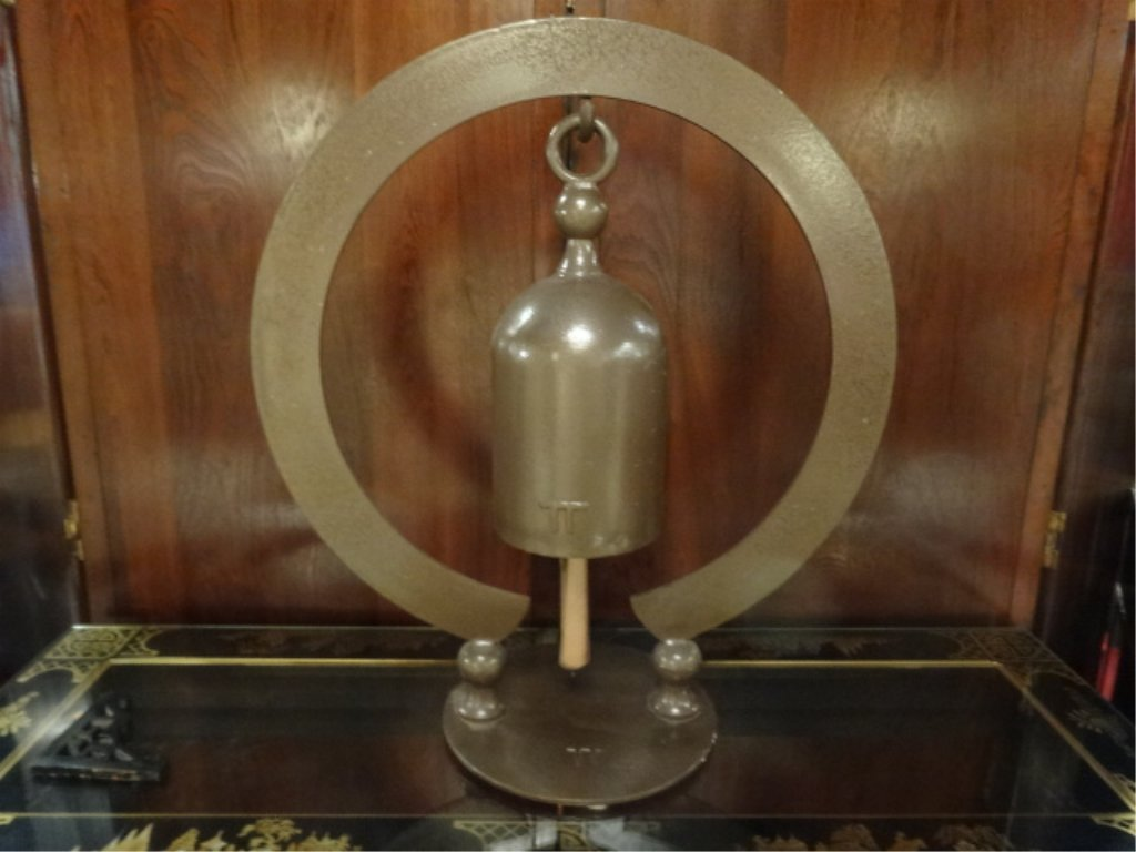 """LARGE CHINESE METAL BELL ON CIRCULAR STAND, APPROX 25""""H"""