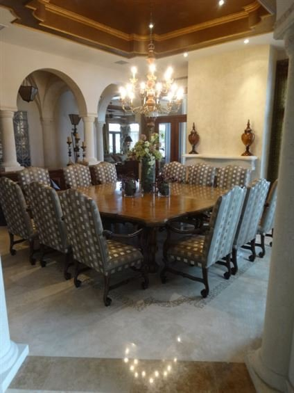 OPULENT LOUIS XIII STYLE DINING TABLE WITH 12 CHAIRS,