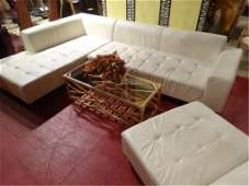 3 PC MODERN WHITE LEATHER SECTIONAL SOFA TUFTED SEAT