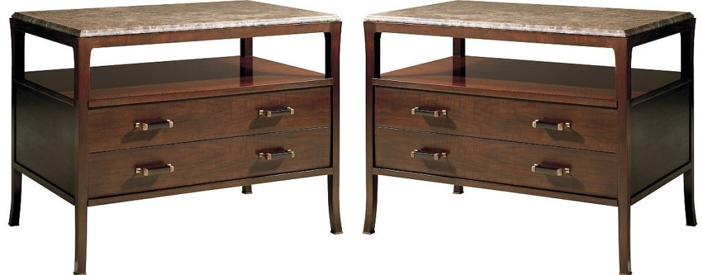 PAIR BILL SOFIELD FOR BAKER MARBLE TOP STATION CHESTS,