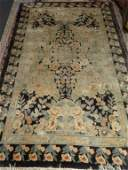 LARGE CHINESE SILK RUG, BEIGE AND CHARCOAL WITH