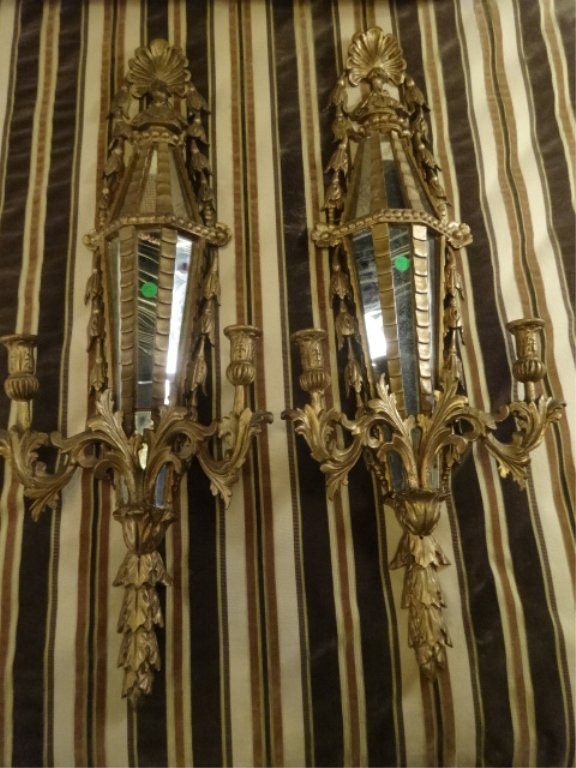 PAIR ANTIQUE GILT WOOD WALL SCONCES WITH MIRRORS, 2