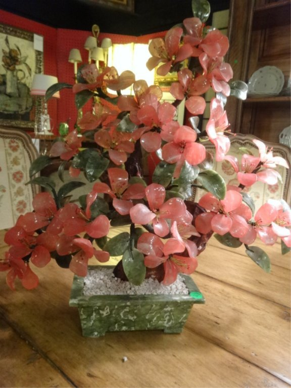 LARGE CHINESE JADE TREE, PINK QUARTZ FLOWERS STONE