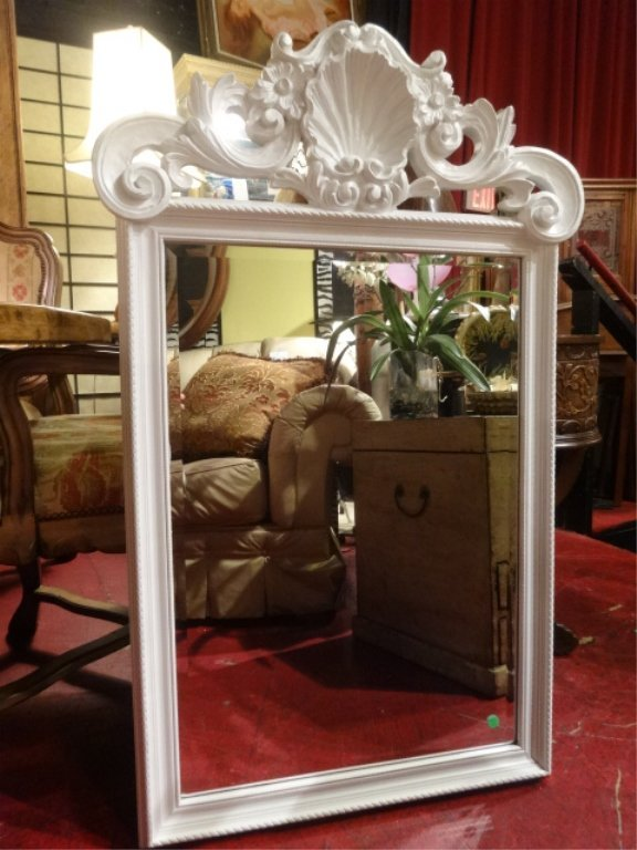 LOUIS XV STYLE CARVED WOOD MIRROR, WHITE FINISH FRAME,