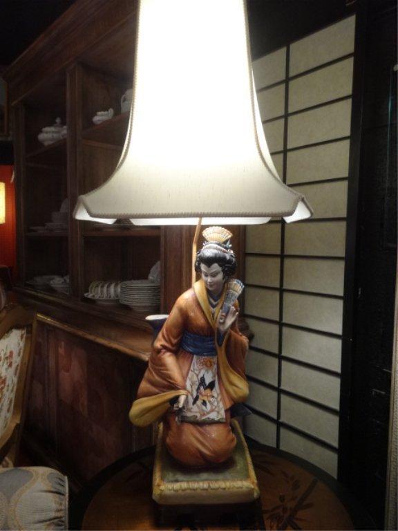 LARGE ASIAN FIGURAL PORCELAIN LAMP, KNEELING LADY,