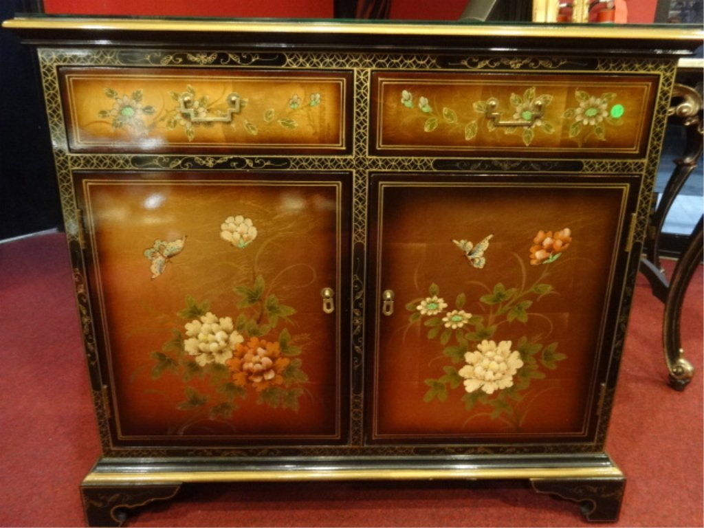 CHINESE STYLE BLACK AND GOLD LACQUER CHEST, 2 DRAWERS