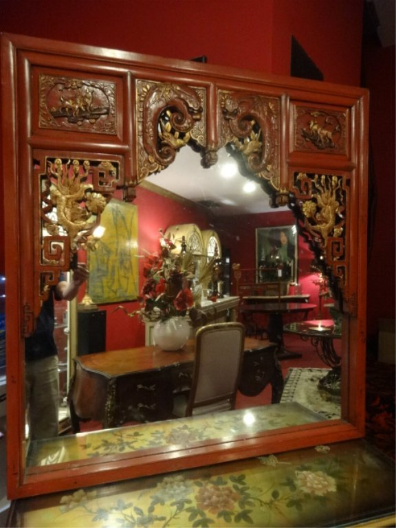 LARGE CHINESE RED AND GOLD LACQUER MIRROR, CARVED AND