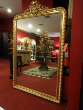 Large French Louis Xv Style Mirror, Gilt Wood And Gesso