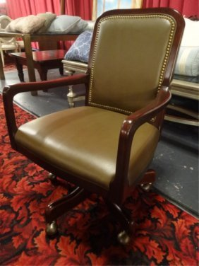 Hancock And Moore Leather Desk Chair With Nailhead