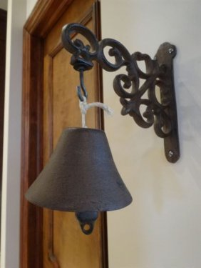 """Metal Bell With Ornate Wall Mount, Approx 14""""h; Note:"""