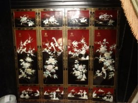 4 Panel Chinese 4 Seasons Floor Screen, Carved Stone