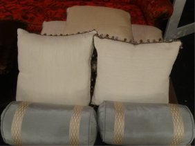 Set Of 7 Decorator Accent Pillows, Pale Brown And Blue,