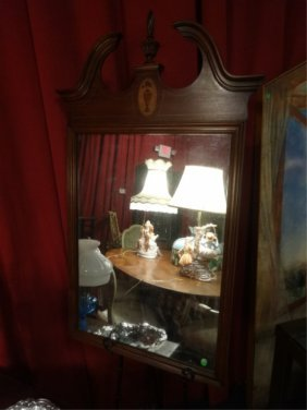 Large Inlaid Mahogany Frame Mirror, Bonnet Top, Inlaid