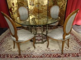 Bronze Dining Table With 4 Louis Xvi Style Chairs,
