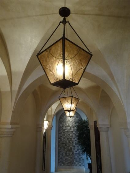 PAIR OF ORNATE BRONZE FINISH CEILING LIGHTS, #10 OF 10