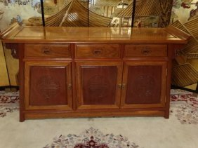 Chinese Carved Wood Chest, 3 Drawers Over 3 Doors,
