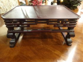 Small Chinese Carved Wood Table, Dark Finish, Approx