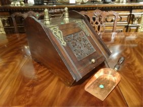 Antique Wood And Brass Coal Scuttle With Copper Scoop,