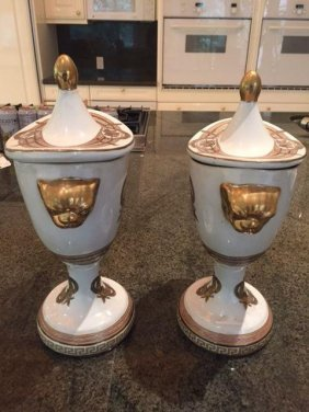 Pair White And Gold Porcelain Urns With Lids