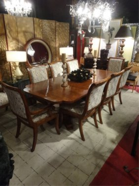 SPECTACULAR REGENCY STYLE DINING TABLE AND 10 CHAIRS,