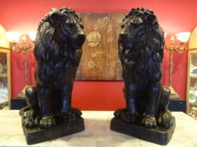 Pair Large Bronze Lion Sculptures, Left And Right