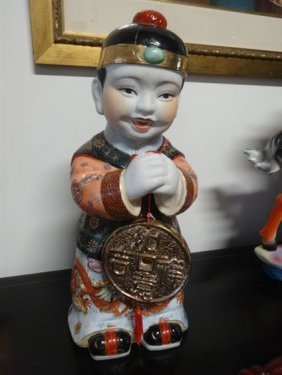Chinese Porcelain Boy Figure With Medallion, Gilt And
