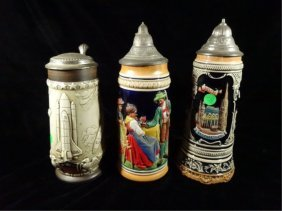 3 Porcelain Beer Steins, One Commemorates The Space