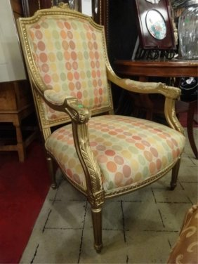 Louis Xvi Style Gilt Wood Armchair, Newly Reupholstered