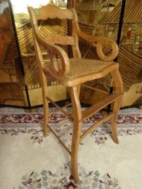 Antique Oak Child's High Chair, Cane Seat, Curved Arms,