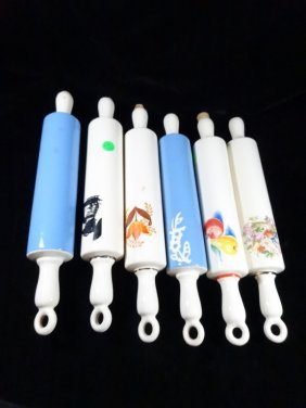 """6 Rolling Pin Bottles, Approx 15""""l"""